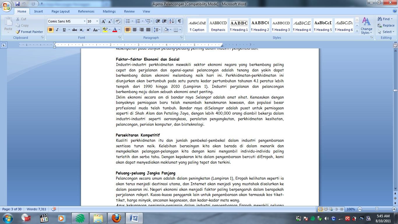 Kertas Kerja Rancangan Perniagaan AGENSI PELANCONGAN